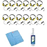 Califone 2800-YL Listening First Headphones in Yellow (Set of 12) with Cleaning Kit
