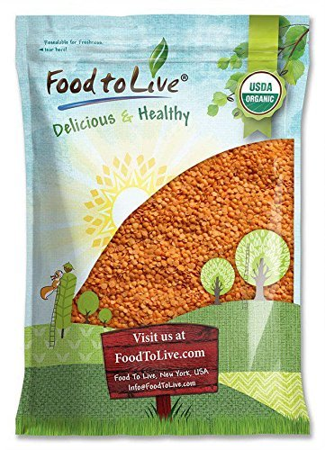 Organic Red Split Lentils by Food to Live (Dry Beans, Non-GMO, Kosher, Raw, Masoor Dal, Bulk) — 10 Pounds by Food to Live