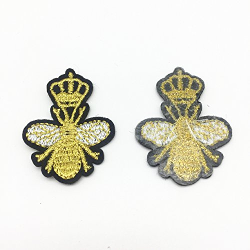 Diy Crown Bees Patches For Clothing Iron on Embroidered Patch Applique Sewing Accessories Badge Stickers 4x3.5cm Pack of 10