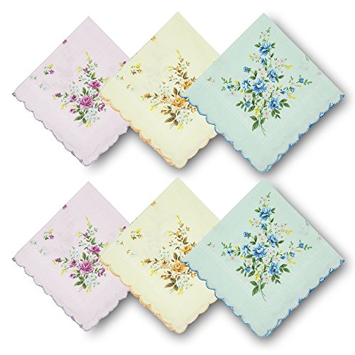 (GB Women's 100% Cotton Handkerchiefs Assorted with Wavy Edge and Print Floral 6 Pieces 01)