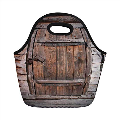 Portable Bento Lunch Bag,Vintage,Rustic Wooden Door of Old Barn in Farmhouse Countryside Village Aged Rural Life Image,Brown,for Kids Adult Thermal Insulated Tote Bags