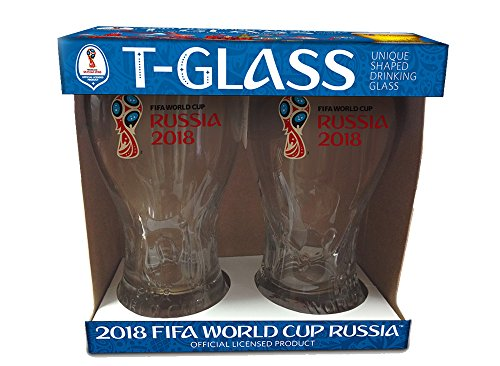 Set of 2 Russia 2018 Logos FIFA World Cup Trophy-glass - The Soccer's Fan Drinkware by FIFA World Cup Trophy-glass