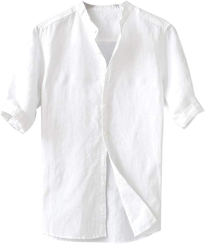 camicia collo coreana da uomo di lino bianca manica corta regular l xl xxl 3xl