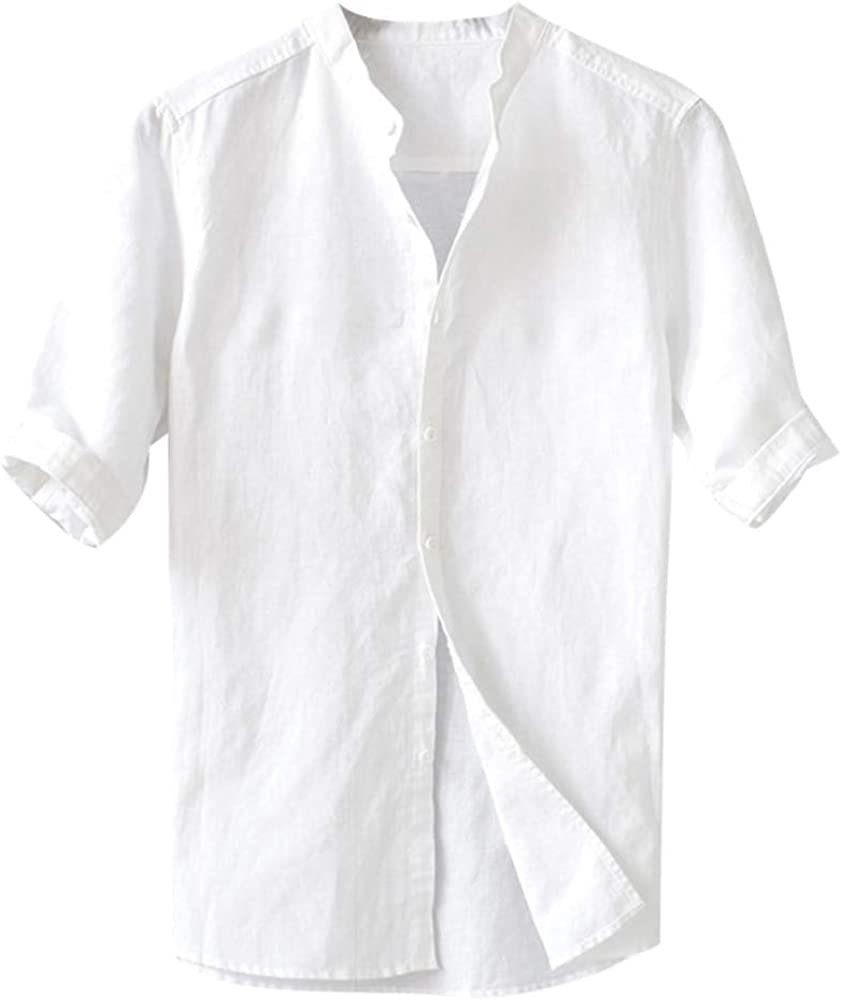 Camisa de algodón con botón para Hombre de Color sólido ...