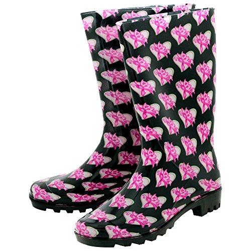 GreaterGood Pink Ribbon Butterfly UltraliteTM Rain Boots (7) ()