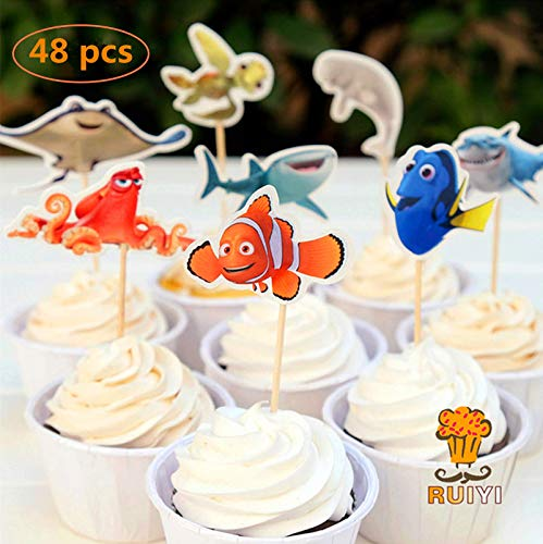 48 pcs Finding Dory Marlin Nemo Destiny candy bar cupcake toppers pick baby shower kids birthday party -