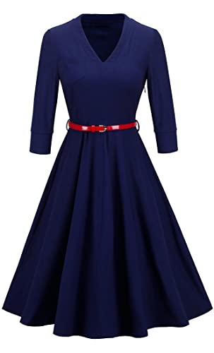 HOMEYEE Women's Elegant V neck Chic Swing Party Dress A006