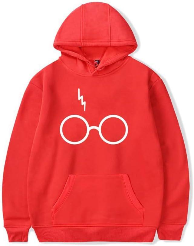 GAOLONG Felpa Pullover Primaverile Harry Potter Occhiali Stampe Felpa con Cappuccio Manica Lunga Camicia Cappotto Felpa Moda Autunno per Donna e Uomo,Grigio,2XL