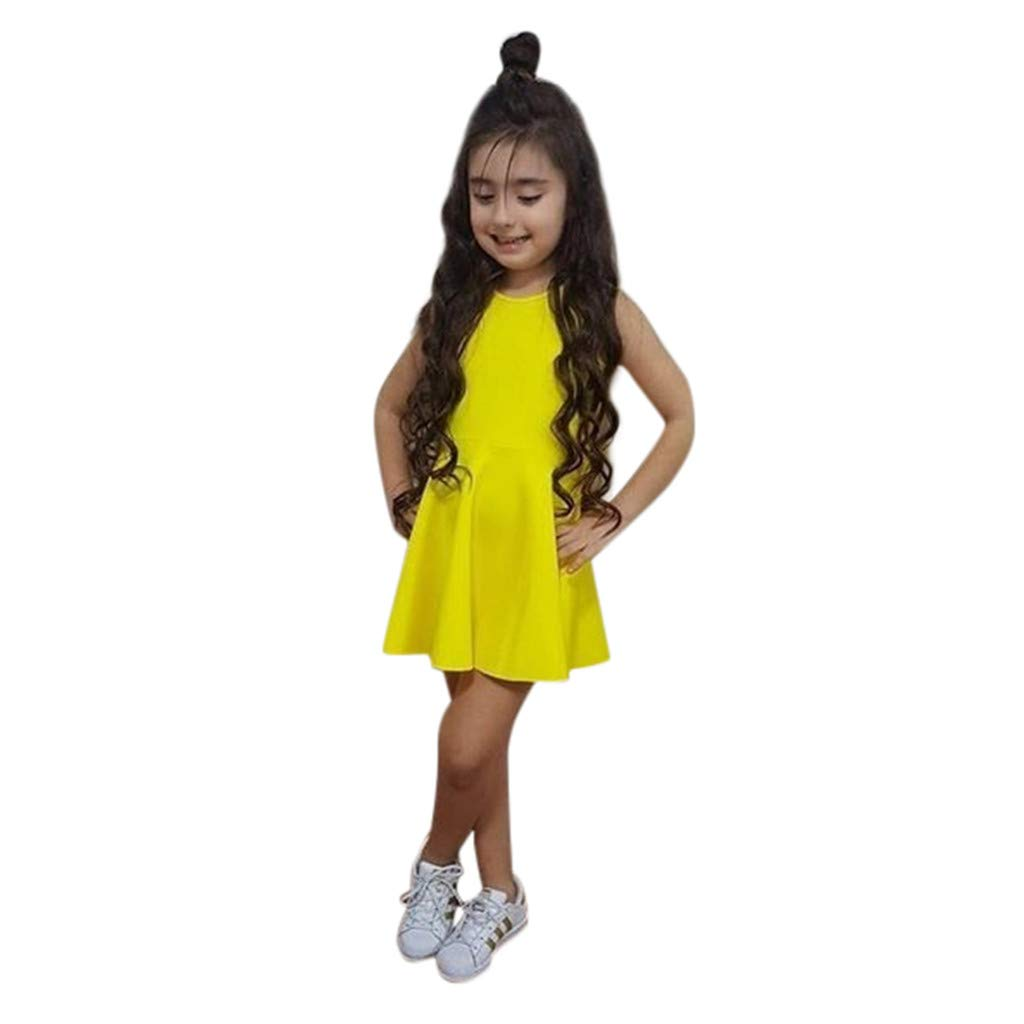 QixinWluo Toddler Kid Baby Girl Princess Dress Sleeveless Solid Bowknot Backlesss Skirt Summer Dresses Clothes