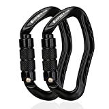 Small Auto Locking Carabiner - Twistlock Rock Climbing Carabiner Clip, Self Locking Arborist Carabiner, Heavy Duty Ear Shaped Hammock Carabiners For Camping, Rappelling, Mountaineering (2 pcs Black)