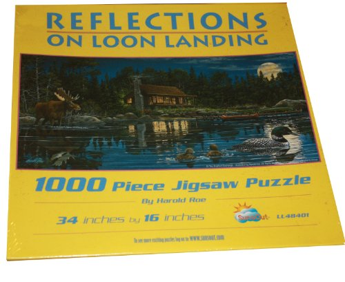 Reflections on Loon Landing 1000 Piece Puzzle By Harold Roe - Features a Cabin on a Lake with a Full Moon in the Background and a Mallard Duck and Moose in the Foreground