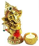 Sacred Blessings Polyresin Lord Ganesha Playing Bansuri Idol with Diya for Home (9.5 cm x 6.5 cm x 15 cm, Gold)