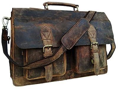 Cuero 18 Inch Retro Buffalo Hunter Leather Laptop Messenger Bag Office Briefcase College Bag