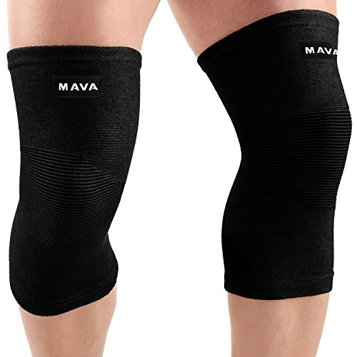 Mava Sports Knee Support Sleeves (Pair) for Joint Pain & Arthritis Relief, Improved Circulation Compression - Support for Running, Jogging,Workout, Walking & Recovery (All Black, XXLarge)