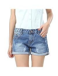 Gordon Q Women's Classic Sexy Ripped Blue Jeans Shorts