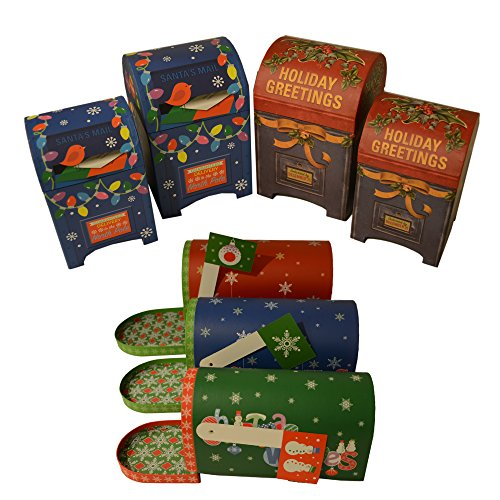 Holiday Gift Boxes assortment with Christmas designs; mailbox shapes, nested in various sizes - 7 Pack (For Bros Christmas Gifts)