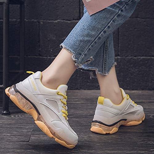 LOSOMI Baskets en Caoutchouc Durable pour Femmes Confortable et Respirant Chaussures de Marche à Lacets en l'air
