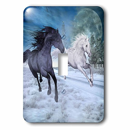 3dRose lsp_201063_1 Two Horses Galloping at Night Through A Winter Landscape Single Toggle - Outlets Wild Horse At