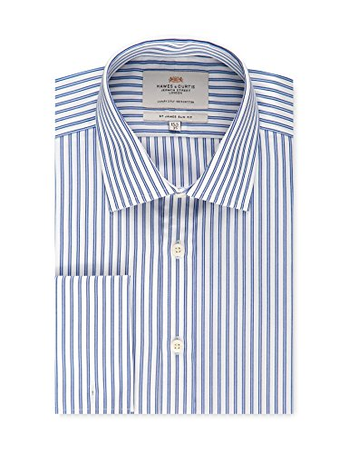 HAWES & CURTIS Mens Blue & White Multi Stripe Slim Fit Dress Shirt - French Cuff - Easy Iron, Blue/White, 16
