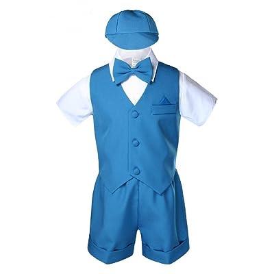 Unotux Teal Infant Boys Toddler Eton 5pc Formal Vest Shorts Set Suits Hat S-4T (3T)