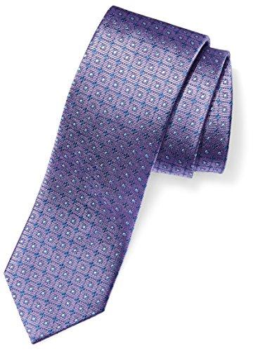 BUTTONED DOWN Men's 100% Silk Tie, Light Purple windowpane, X-Long (Silk Long Dress)