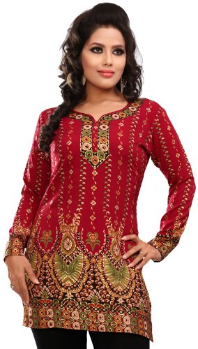 Women's Indian Kurti Top Tunic Printed Blouse India Clothes (Maroon, L)