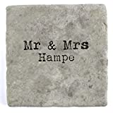 Mr & Mrs Hampe - Set of Four Marble Tile Drink Coasters
