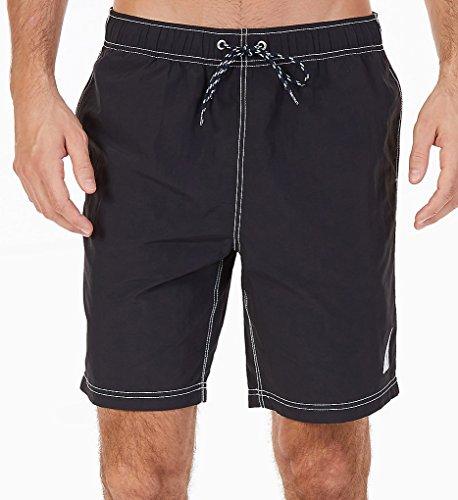 Nautica Men's Big and Tall Solid Quick Dry Classic Logo Swim Trunk, True Black, 2XLT ()