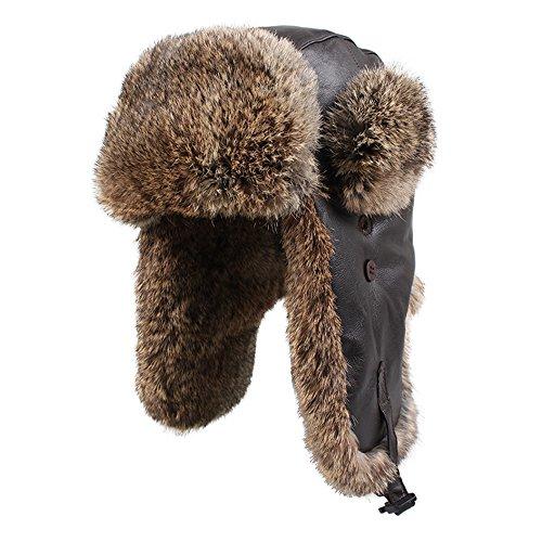 (Kenmont Winter Men Genuine Leather Natural Rabbit Fur Ski Trapper Aviator Hat Cap (M-22.83inches, Coffee))