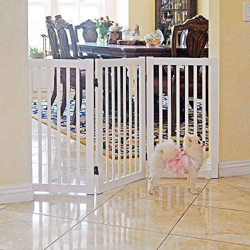 Folding Pet Gate - WELLAND Freestanding Wood Pet Gate White, 54-Inch Width, 30-Inch Height (No Support Feet)