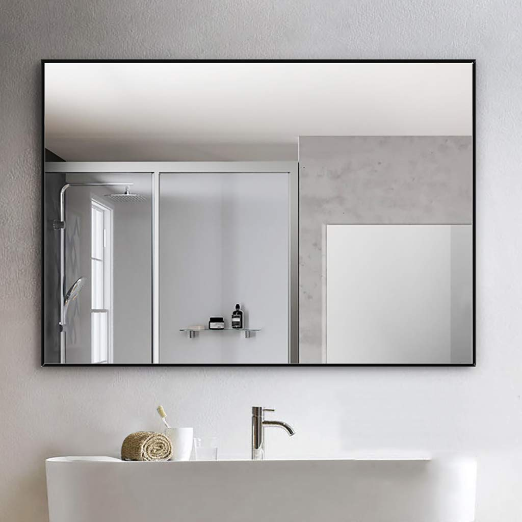 Black 50X70CM Wall-Mounted Bathroom Makeup Mirror Explosion-Proof Simple Modern Rectangular Horizontal greenical Dual Use Aluminum Alloy Frame Silver Black Bronze -Multiple Sizes