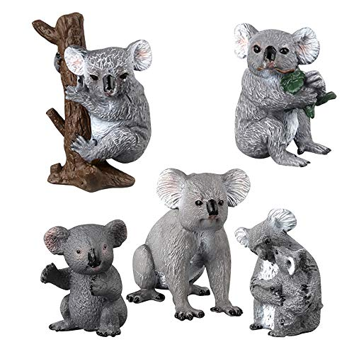 (Fantarea Realistic Wild Life Jungle Zoo Animals Figures Model Koala Toys for 5 6 7 8 Year Old Boys Girls Kid Toddlers Party Favors Supplies Cake Toppers Gift(5 pcs))