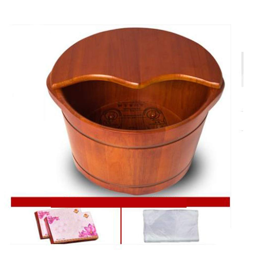 Tub Foot Bath, Oak Spa Bucket,Heightening with Cover Foot Washing Barrel,Health Massage Household Wooden Barrel (Size : Covered) by Tub