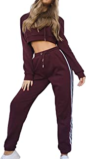 VERYCO Women's Tracksuit Set 2 Piece Hooded Crop Top and Trousers Casual Jogger Active Suit Sportswear