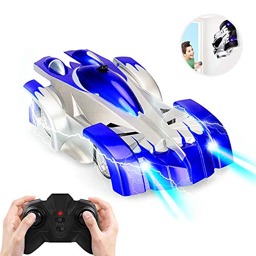 Toy Cars for 5-10 Year Old Boys Joyfun Wall Climbing Car Remote Control Car 2.4GHz RC Racing Car Spiderman Car Toys for Kids Wall Stunt Climber Birthday Gifts Blue