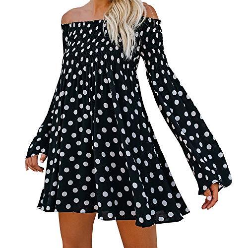 estate 2018 Polka Spalla Maniche Mini Sexy A Nero Punto lunghe tunica bagliore Rawdah da Manica vestiti Gonne Cerimonia donna abiti donna qtnwOEg6x1