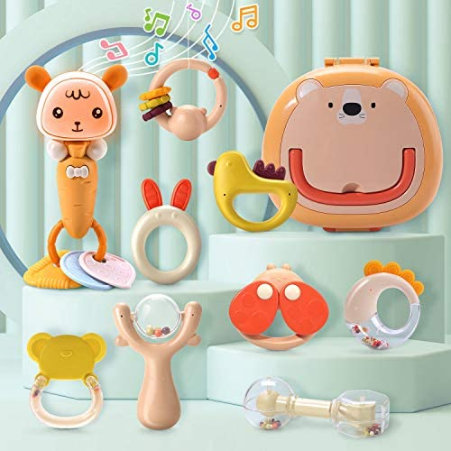CUTE STONE Baby Rattles Teether Rattles Toys SetElectronic Grab ShakerMusic and LightMusical Toy SetBonus Storage BoxEarly Educational Toys for 3 6 9 12 Month Infant Newborn Boy Girl