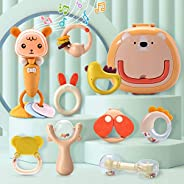 CUTE STONE Baby Rattles Teether Rattles Toys Set,Electronic Grab Shaker with Music and Light,Musical Toy Set w
