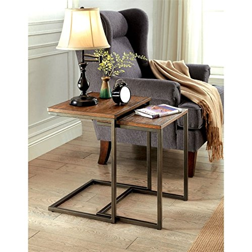 Cheap Furniture of America Collin 2 Piece Nesting Table in Weathered Oak