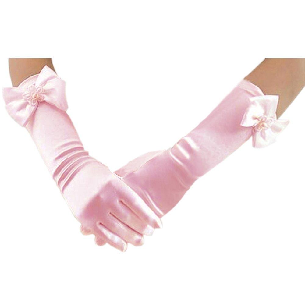 Deceny CB Long Gloves for Flower Girls Princess Gloves for Wedding Formal Gloves (Pink)
