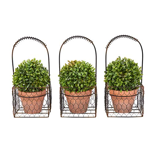 Home Pure Garden Faux Boxwood- 3 Matching Realistic 9.5