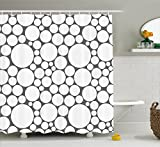 Geometric Circle Shower Curtain by Ambesonne, Retro Pattern with Large Small Round Dots Abstract Art Print Image, Fabric Bathroom Decor Set with Hooks, 84 Inches Extra Long, Dark Grey White