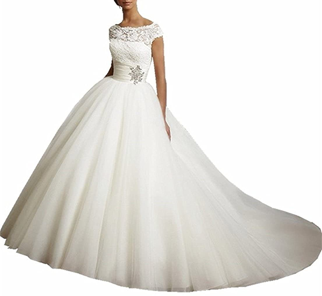 XUYUDITA Mujeres Cap manga de encaje plisado Tulle vestido de novia vestido de boda vestido de novia: Amazon.es: Ropa y accesorios