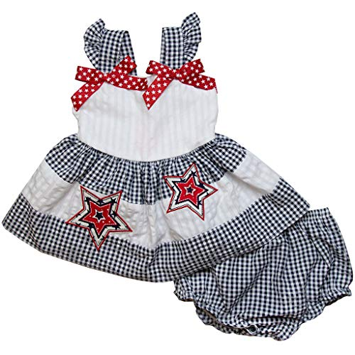 Good Lad Newborn/Infant Girls Navy and White July 4th Seersucker Sundress with Matching Seersucker Panty (12M)