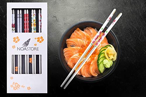 Noa Store 10 Stainless Steel Chopsticks Chop Sticks Beautiful Gift Set Assorted (5 Pairs)