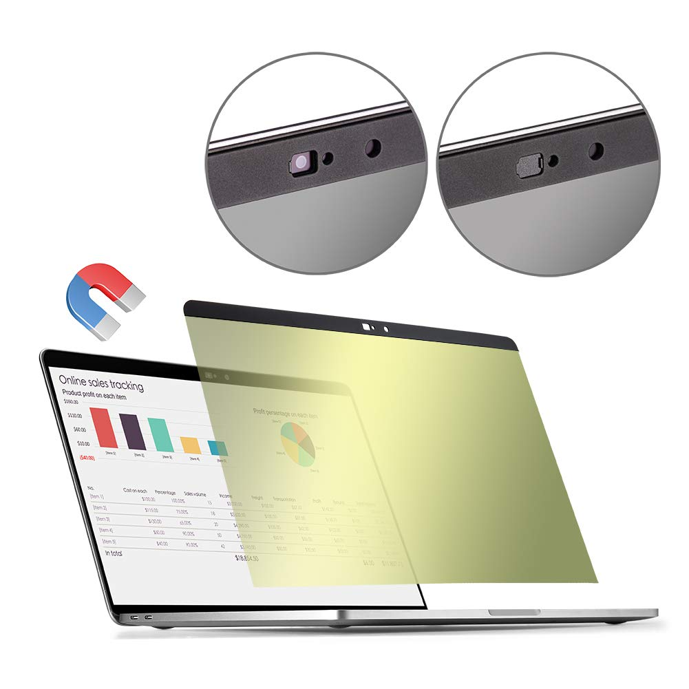 Gold MacBook pro 15.4 inch Privacy Screen Protector Filter【Magnetic Installation】【Webcam Cover】【 Anti-Glare Screen Protector 】【TPU Keyboard Cover】 for MacBook Pro 15.4 inch Touch bar and Non Touch bar