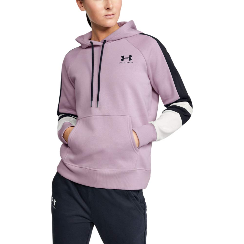 Under Armour Rival Fleece Lc Logo Hoodie Novelty, Pink Fog (694)/Black, Small by Under Armour