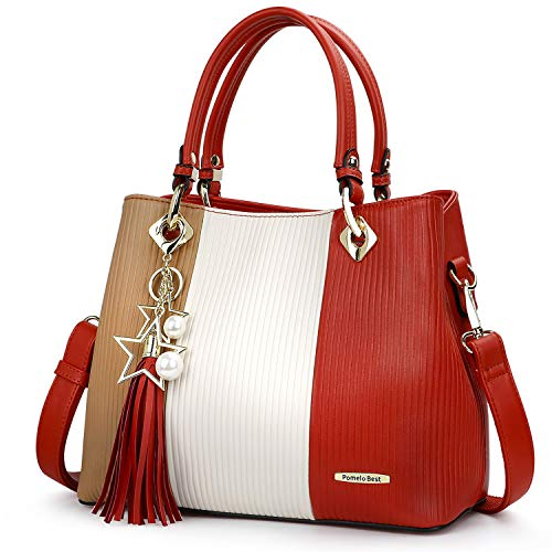 Handbags for Women with Multiple Internal Pockets in Pretty Color Combination (Brown/White/Orange)