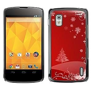 YOYO Slim PC / Aluminium Case Cover Armor Shell Portection //Christmas Holiday Red Tree Pattern 1110 //LG Google Nexus 4