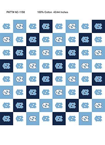 University of North Carolina UNC Cotton Fabric with New Mini Check Design-Newest Pattern-NCAA Cotton Fabric ()
